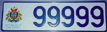Sample plate of San Marino: 99999
